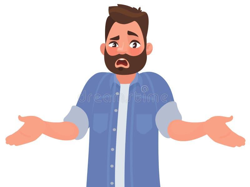 El hombre barbudo se separa emocionalmente las manos ¿Pregunte qué ` s que se enciende o porqué? Vector el ejemplo stock de ilustración