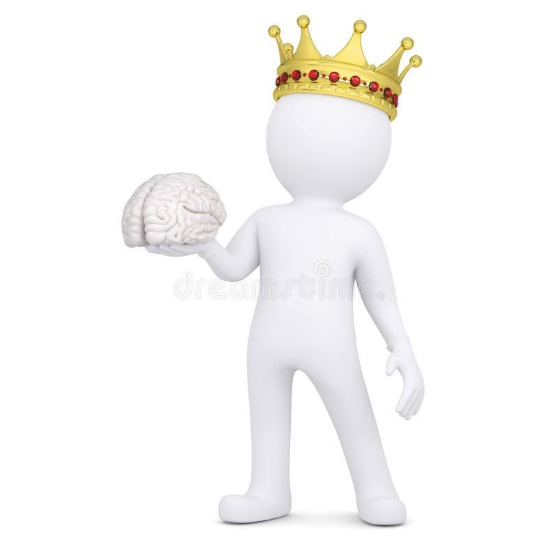 el hombre blanco 3d con una corona guarda el cerebro ilustración del vector