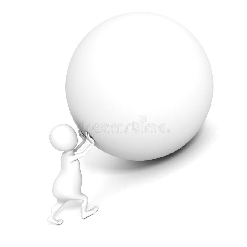 El hombre blanco 3d empuja hacia arriba la esfera pesada. Concepto de Sisyphus libre illustration