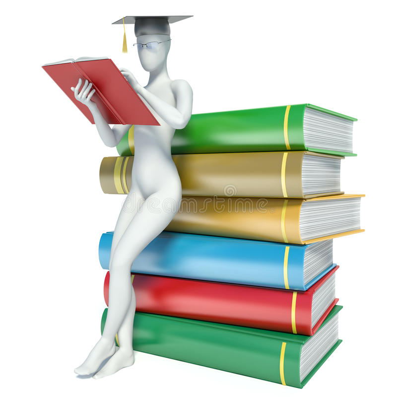 el hombre blanco 3d lee un libro, inclinándose detrás contra una pila de libros stock de ilustración