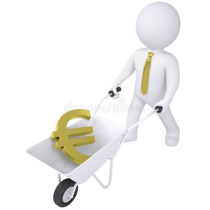 el hombre blanco 3d lleva una carretilla con el euro libre illustration