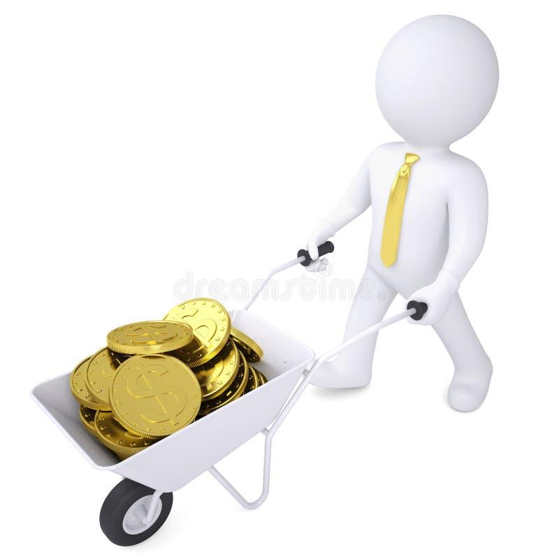 el hombre blanco 3d lleva una carretilla de las monedas de oro libre illustration