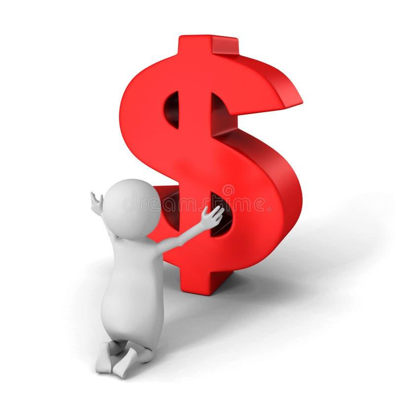 El hombre blanco 3d ruega para el símbolo rojo grande del dólar stock de ilustración