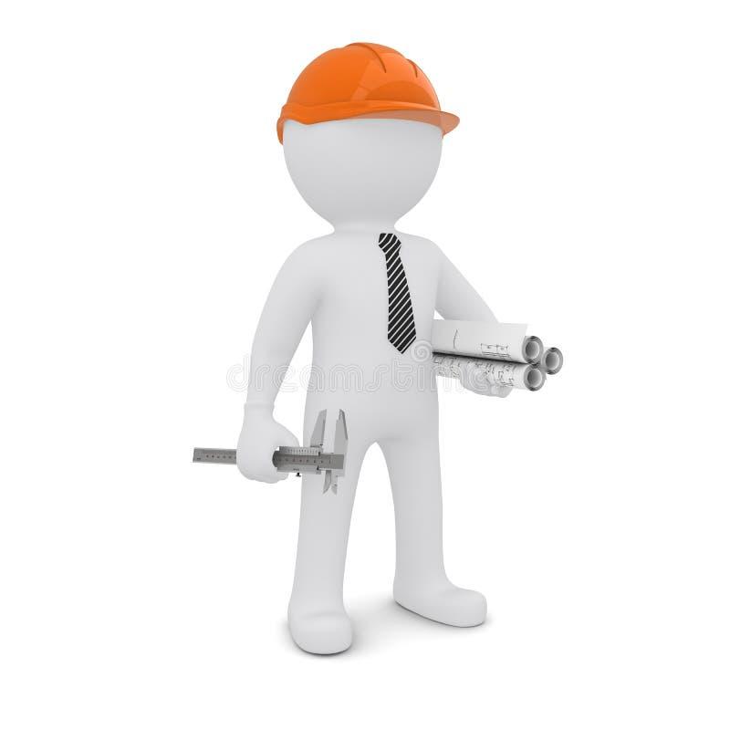 El hombre blanco en un casco anaranjado libre illustration