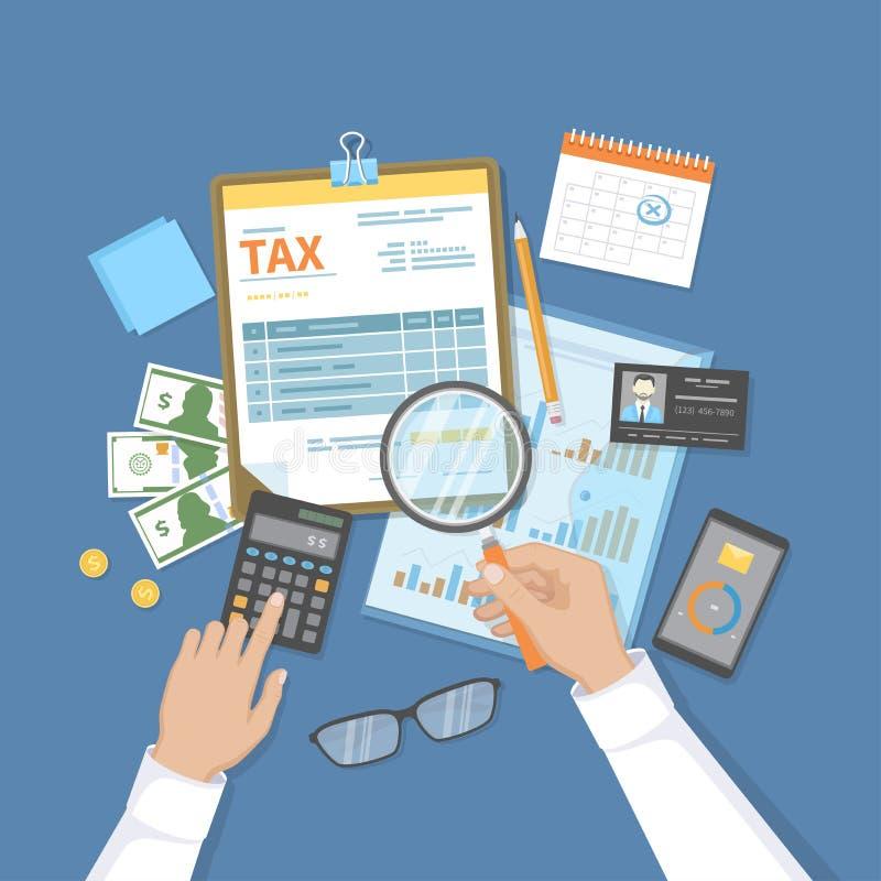 El hombre calcula impuesto El pago del impuesto, cuentas, carga en cuenta concepto Calendario financiero, dinero, forma de impues stock de ilustración