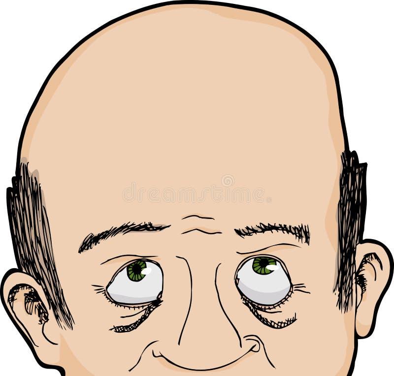 El hombre calvo mira para arriba stock de ilustración