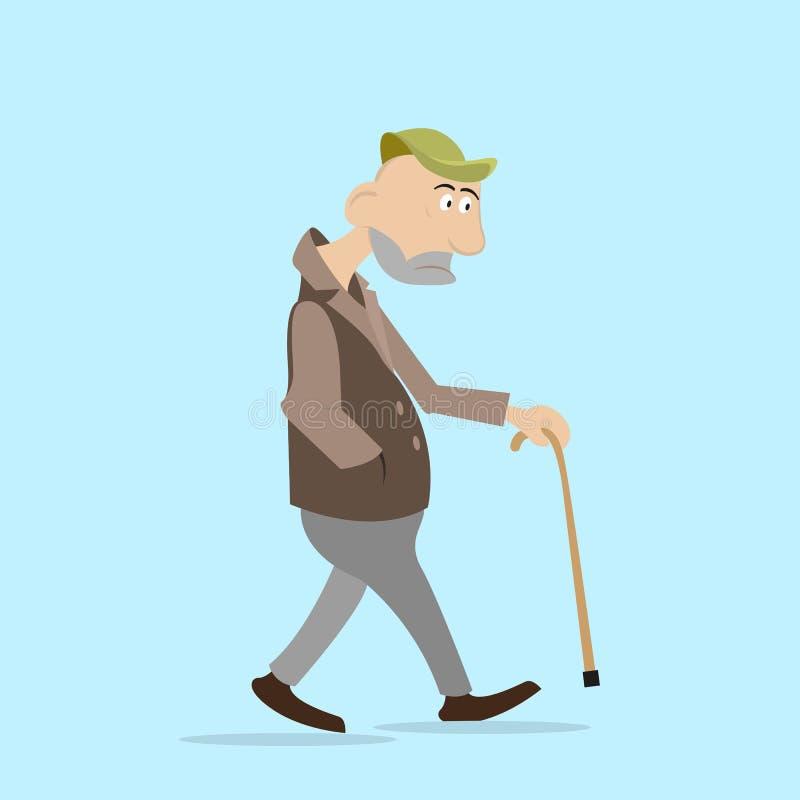 El hombre camina con un palillo stock de ilustración