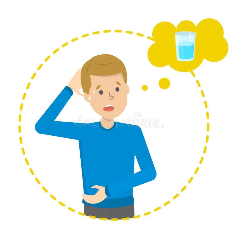 El hombre cansado piensa en el vaso de agua stock de ilustración