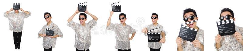 El hombre con clapperboard de la película aislado en blanco imagenes de archivo