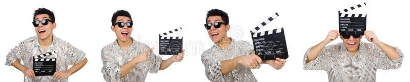 El hombre con clapperboard de la película aislado en blanco fotos de archivo