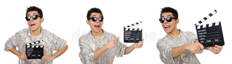 El hombre con clapperboard de la película en blanco fotos de archivo