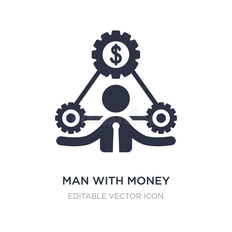 el hombre con el dinero adapta el icono en el fondo blanco Ejemplo simple del elemento del concepto del negocio ilustración del vector