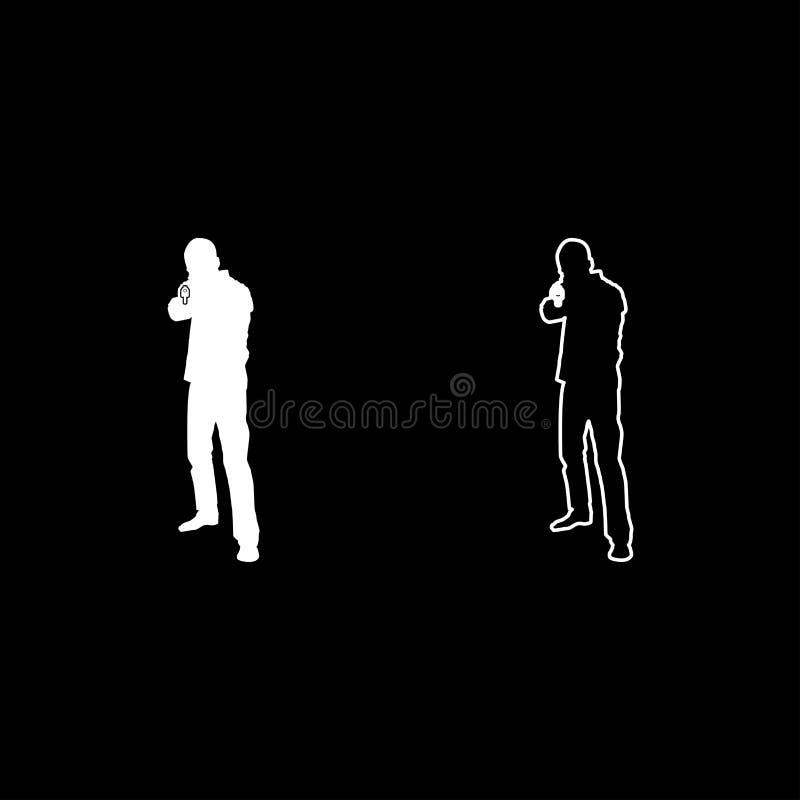 El hombre con el icono criminal de la vista delantera del concepto de la persona de la silueta del arma fijó imagen simple de col libre illustration