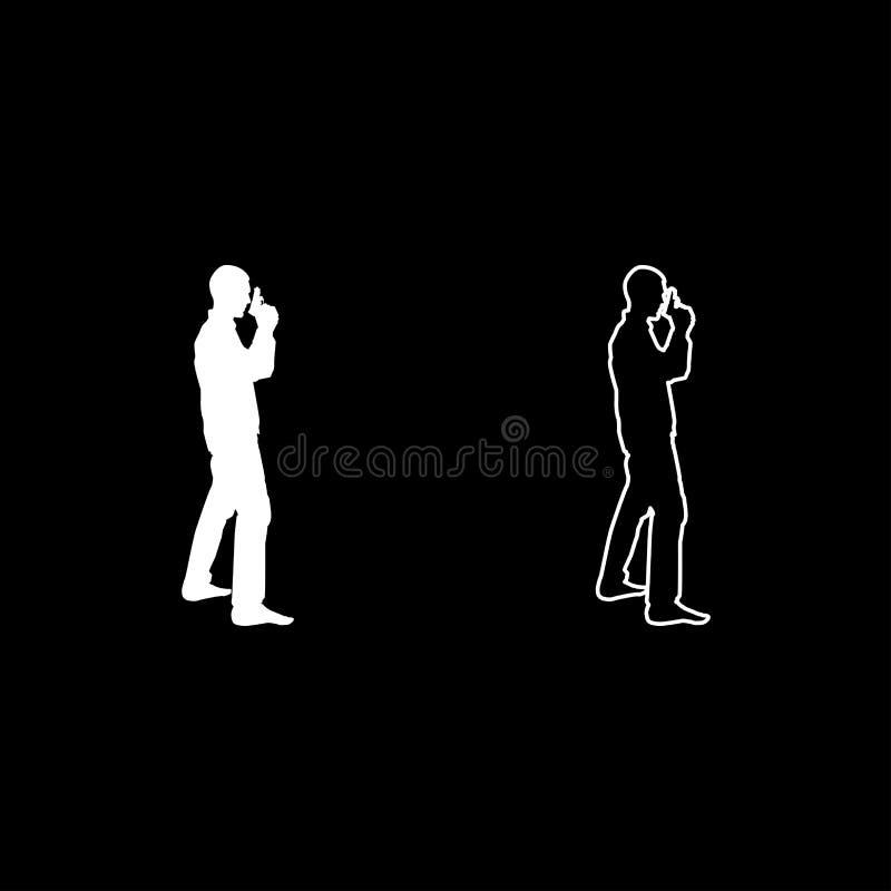 El hombre con el icono criminal de la vista lateral del concepto de la persona de la silueta del arma fijó imagen simple de color ilustración del vector