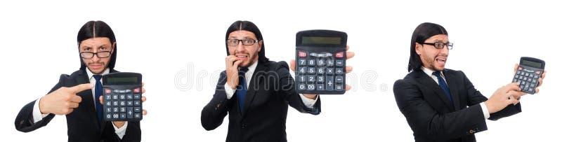 El hombre con la calculadora aislada en blanco fotos de archivo libres de regalías