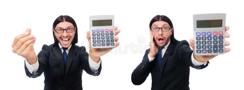 El hombre con la calculadora aislada en blanco imágenes de archivo libres de regalías