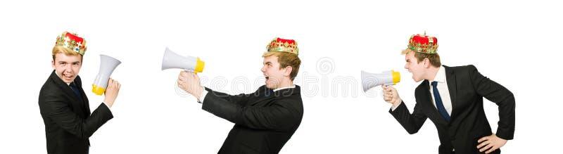 El hombre con la corona y el meg?fono aislados en blanco imágenes de archivo libres de regalías