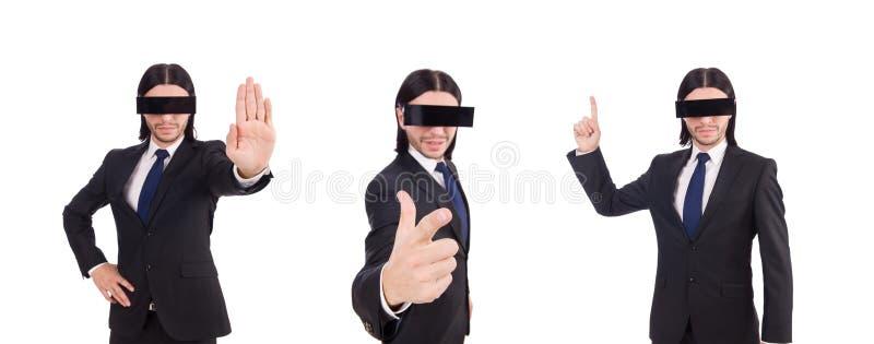 El hombre con la cubierta negra en sus ojos imagen de archivo libre de regalías