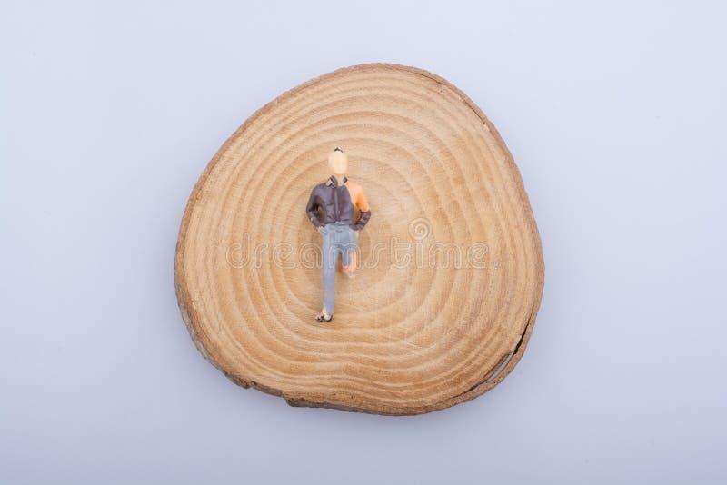El hombre con la pierna lisiada en un registro de madera cortó en pedazos redondos imagenes de archivo