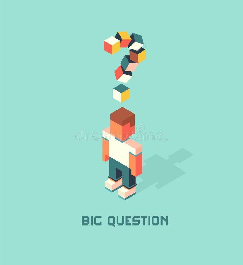 El hombre con la pregunta grande duda, cubica el ejemplo isométrico del vector de la composición stock de ilustración