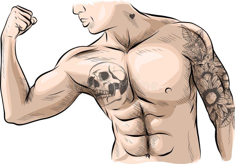 El hombre con los músculos Atleta barbudo, muscular atractivo en vaqueros Planteamiento de levantamiento de pesas stock de ilustración