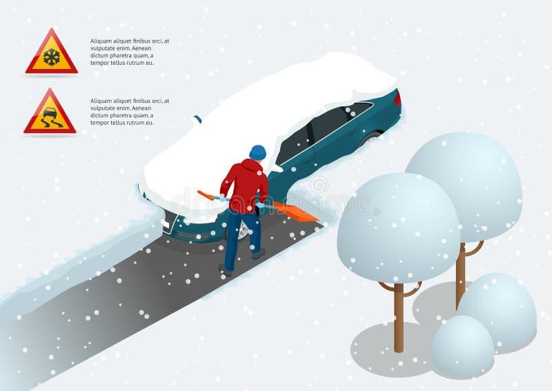 El hombre con nieve de la limpieza de la pala llenó el patio trasero fuera de su coche Ciudad después de la ventisca Coche cubier ilustración del vector