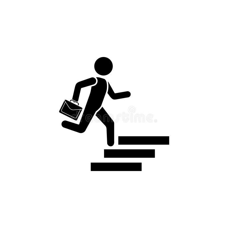El hombre con una cartera corre encima de las escaleras Hombre de negocios Icon stock de ilustración