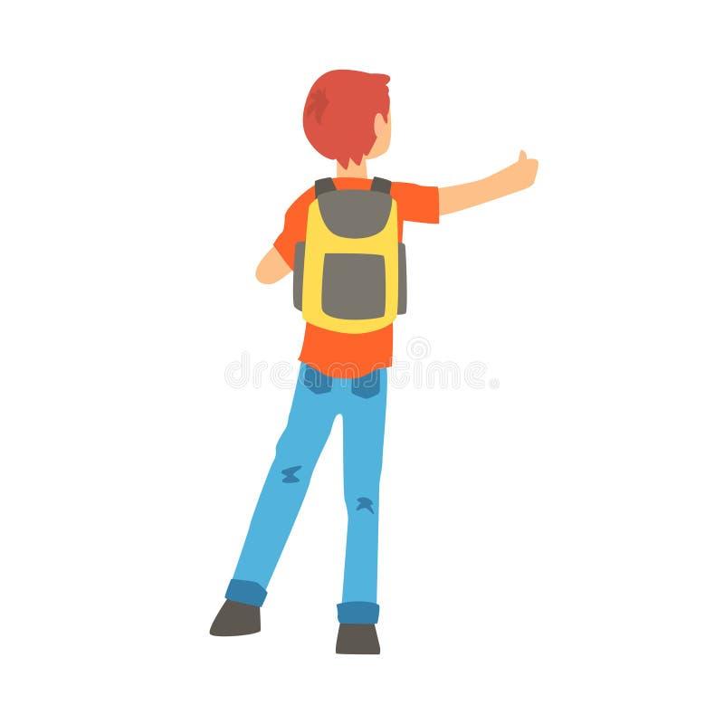 El hombre con una mochila grande paró un paseo manoseando con los dedos, visión trasera stock de ilustración
