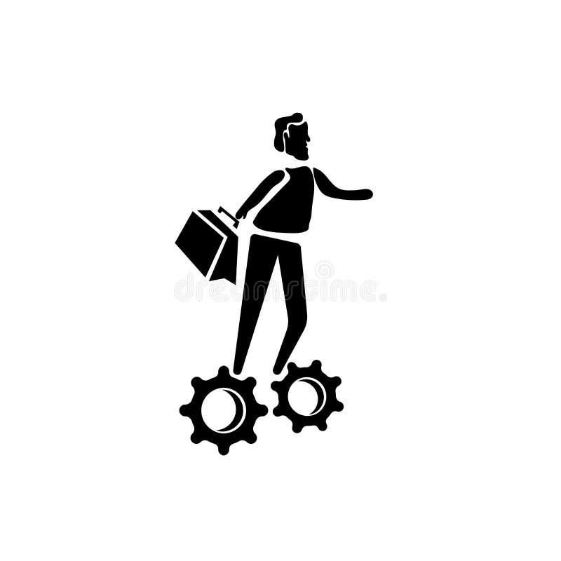 El hombre con vector del icono de las soluciones aislado en el fondo blanco, hombre con las soluciones firma, los ejemplos del ne ilustración del vector