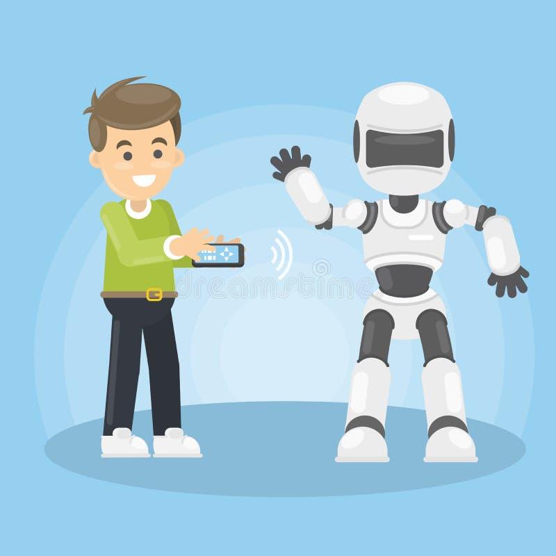 El hombre controla el robot ilustración del vector