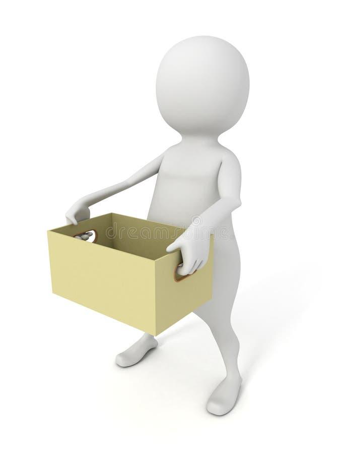 el hombre 3d lleva la caja de cartón vacía stock de ilustración