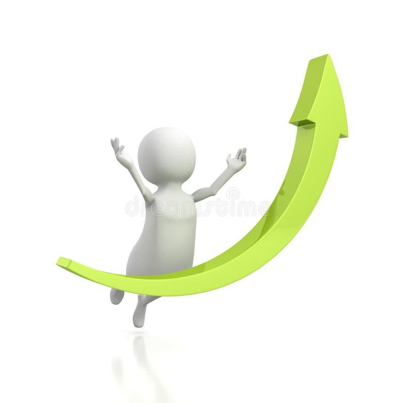 el hombre 3d salta hasta éxito con la flecha creciente verde ilustración del vector