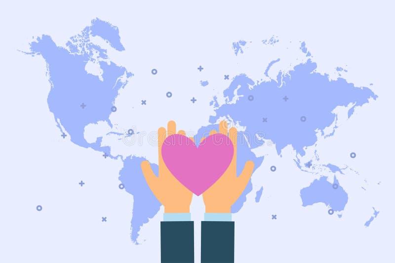 El hombre da el corazón en manos de la palma en el fondo del mapa del mundo Ejemplo del concepto de la caridad y de la donación e ilustración del vector