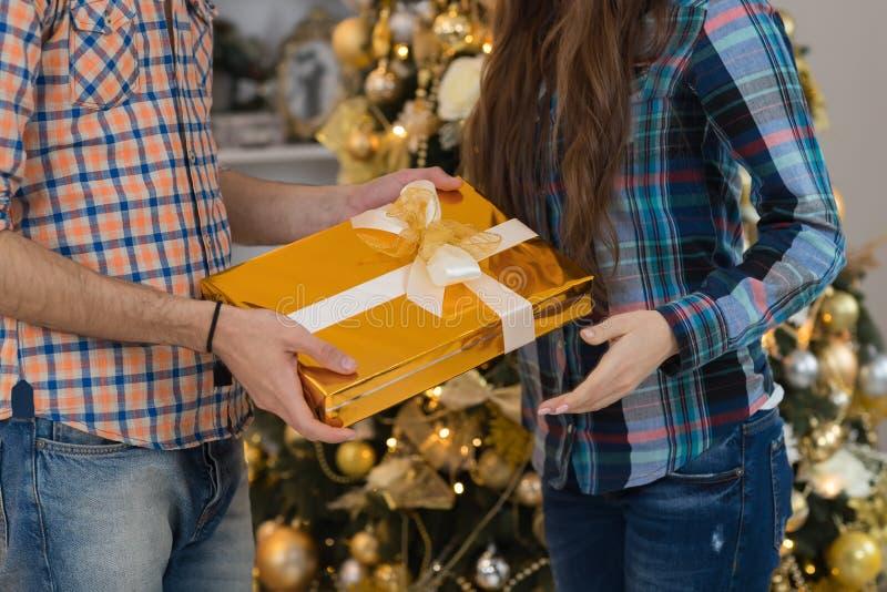 El hombre da el árbol de pino cerca adornado feliz de los pares del actual de regalo de la caja de la mujer día de fiesta de la N imágenes de archivo libres de regalías