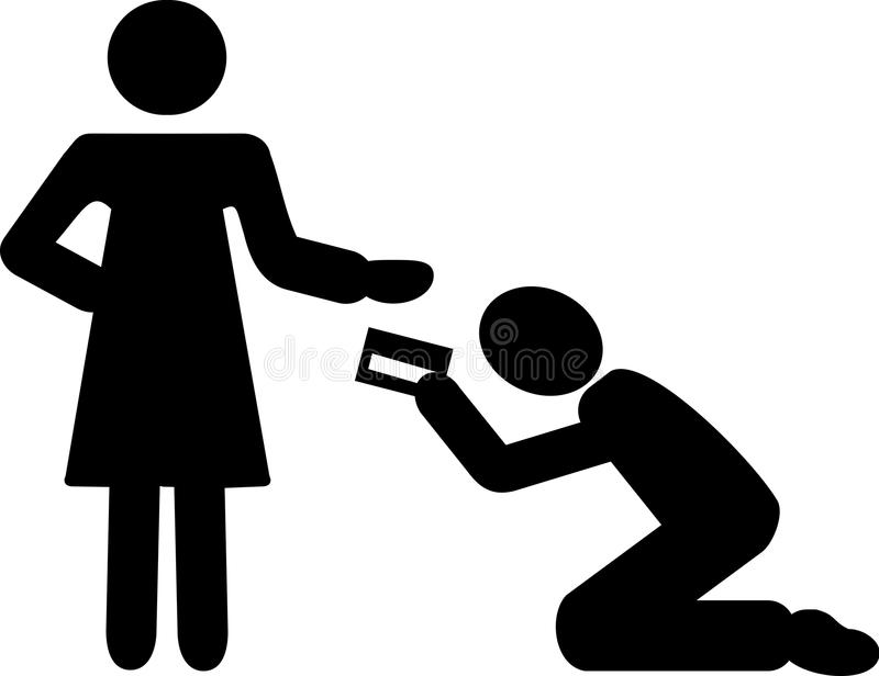 El hombre da la tarjeta de crédito de la mujer ilustración del vector