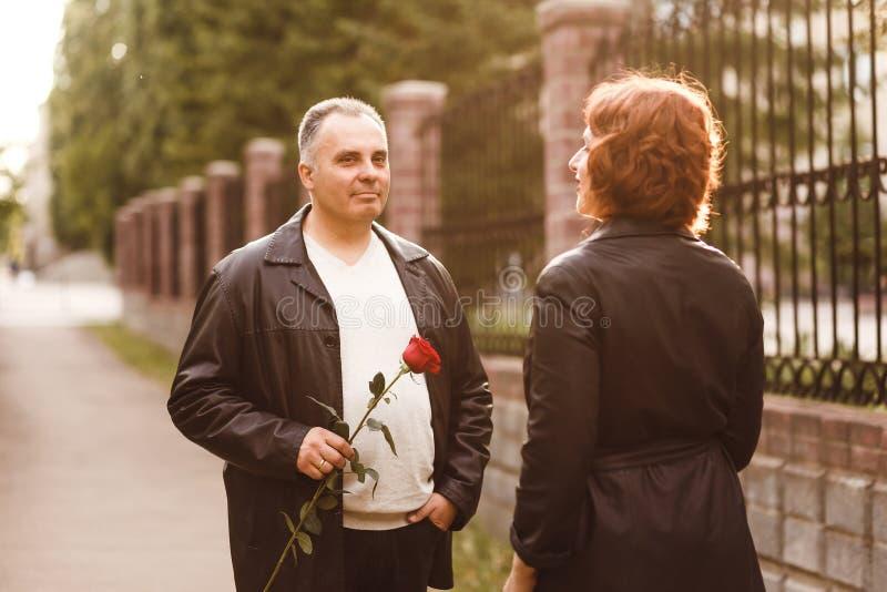 El hombre de cincuenta da una rosa roja a una mujer Marido y esposa de mediana edad en verano en la puesta del sol imagen de archivo