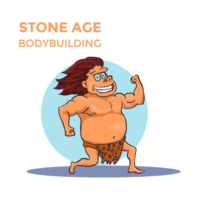 El hombre de cueva dibujado mano de la Edad de Piedra de la historieta muestra su bíceps Vector stock de ilustración