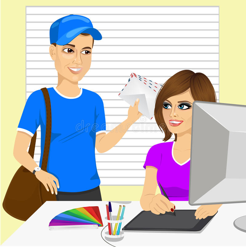 El hombre de entrega joven trae a correo un diseñador gráfico hermoso en oficina libre illustration