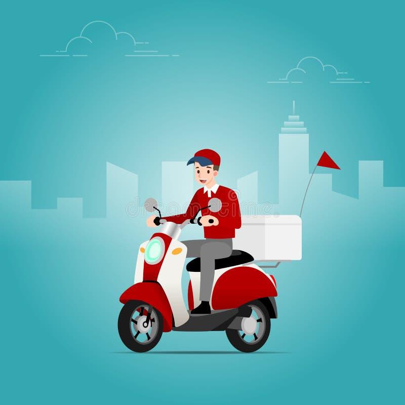 El hombre de entrega que lleva un casquillo que monta una vespa, motocicleta, para enviar las mercancías del naviera para entrega ilustración del vector