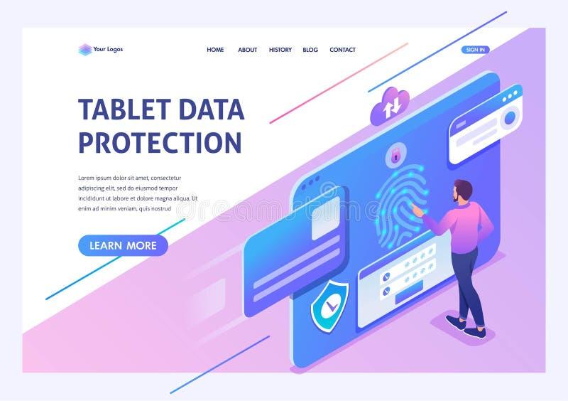 El hombre de jóvenes isométrico del concepto proporciona la protección de datos en la tableta, ajustes del antivirus Página de at ilustración del vector