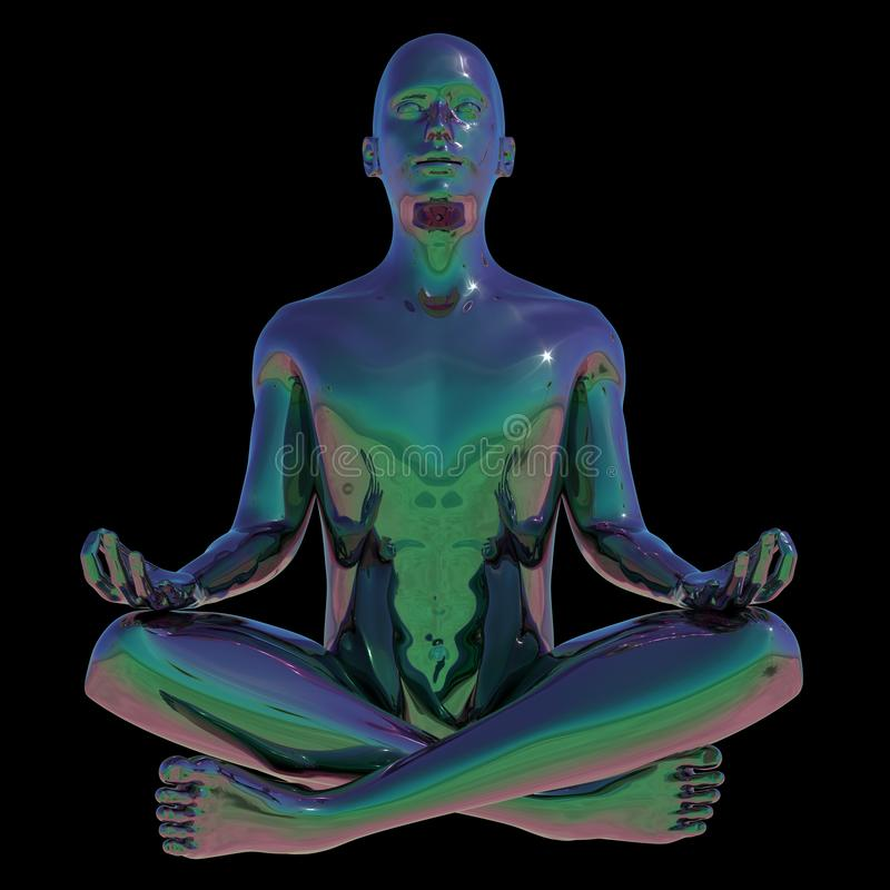 El hombre de la actitud del loto de la yoga estilizó la relajación mental humana stock de ilustración
