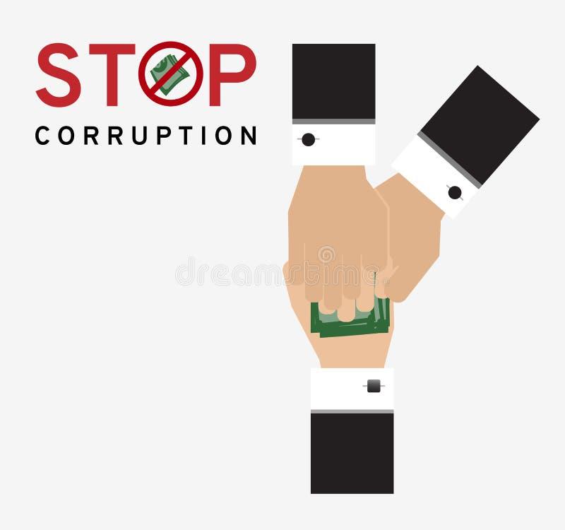El hombre de la corrupción en traje está dando el dinero al tenedor para el negocio con la parada del símbolo recibe el dinero ilustración del vector