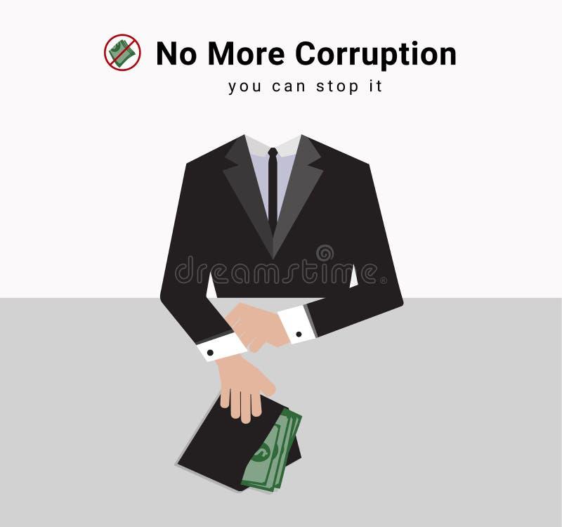 El hombre de la corrupción en traje está dando la porción de dinero al tenedor para el negocio con la parada del símbolo recibe e stock de ilustración