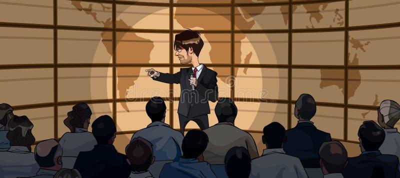 El hombre de la historieta en traje con el micrófono a disposición se coloca delante de una audiencia ilustración del vector