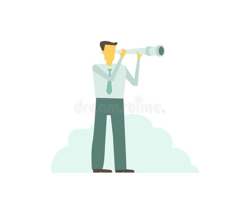 El hombre de la persona que anticipa a través del telescopio del catalejo ve para examinar futuro libre illustration