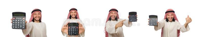 El hombre de negocios árabe aislado en blanco imagenes de archivo