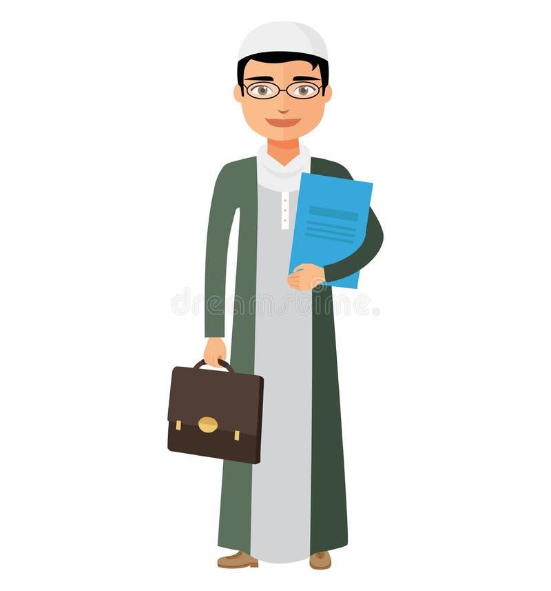 El hombre de negocios árabe del saudí con los vidrios y la cartera vector el Ca plano stock de ilustración