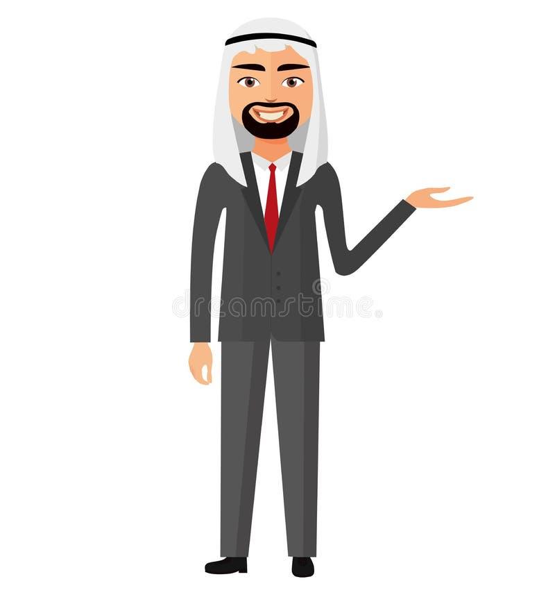 El hombre de negocios árabe del saudí presenta a algo vector la historieta plana IL libre illustration