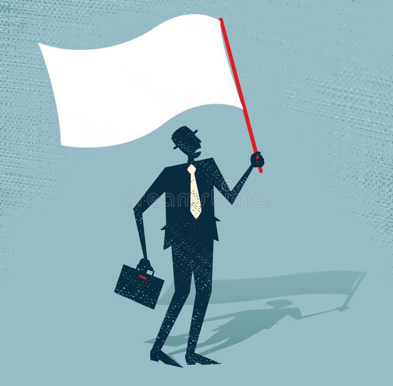 El hombre de negocios abstracto agita la bandera blanca del defea ilustración del vector