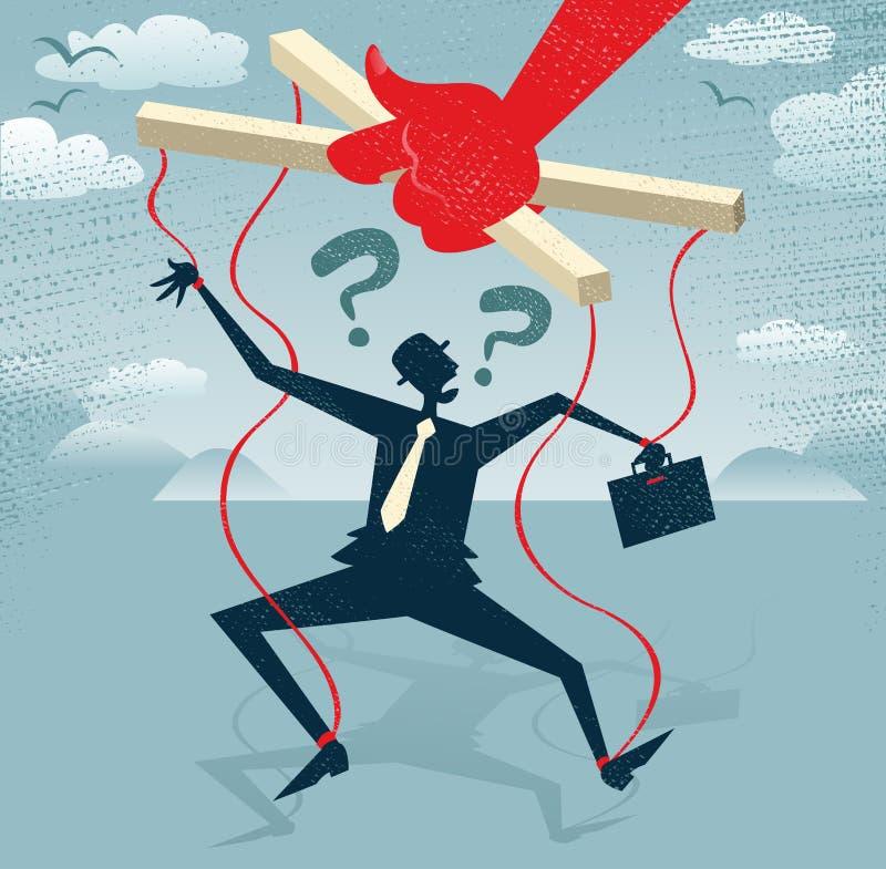 El hombre de negocios abstracto es una marioneta. stock de ilustración
